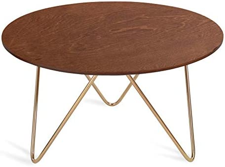 Kate and Laurel Spaulding Mid-Century Round Wood and Metal Coffee Table