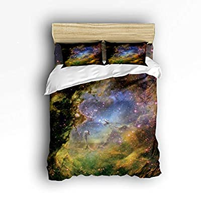 Olivefox Bedding Duvet Cover Set, 4 Piece - Gorgeous Starry Sky Luxury Hypoallergenic Microfiber Comforter Quilt Cover with Zipper Closure and Fitted Sheet, Decorative Shams