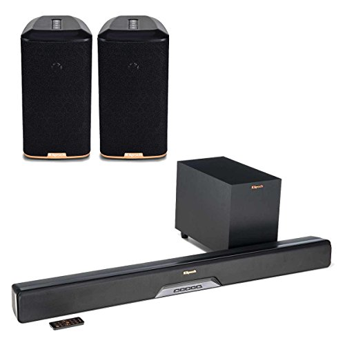 Klipsch RSB-8 Reference Sound Bar with Wireless Subwoofer with RW-1 Wireless Speakers - Pair (Black)