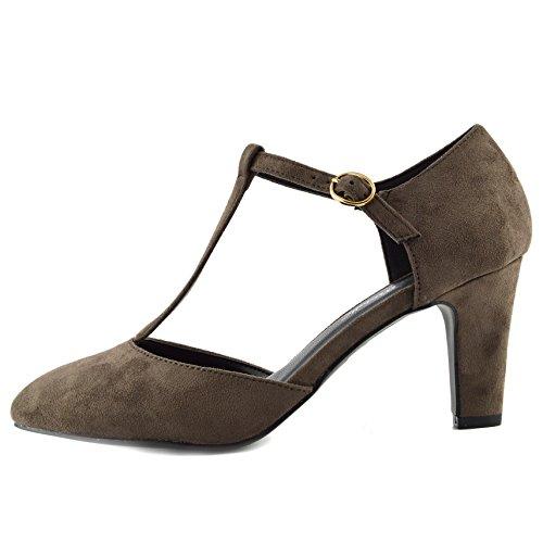 Lavoro Blocco Cinturino A Taupe Scarpe Formale Dolly Kick Nero Donna Footwear Ufficio Tacco zwqxIHYIa