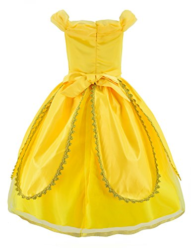 Princess Belle Costume Deluxe Party Fancy Dress Up For Girls with Accessories 10-12 Years(150cm) by Party Chili (Image #5)