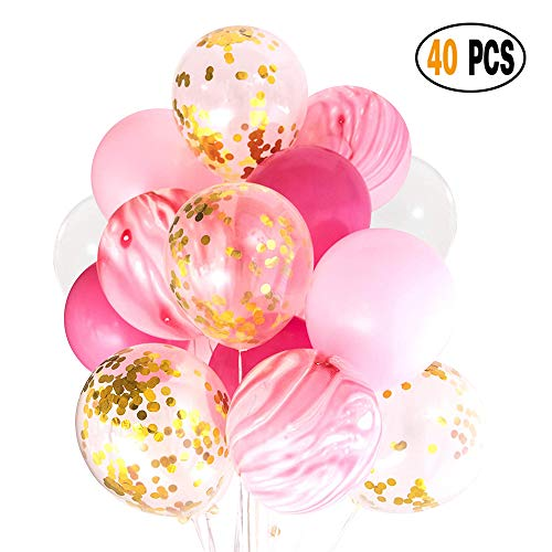 DIvine 40 Pcs Gold Confetti and Pink Agate Marble Balloons, Hot Pink and Light Pink White Latex Balloons Set for Birthday Party Decorations Wedding Baby Showers Christmas Festival -