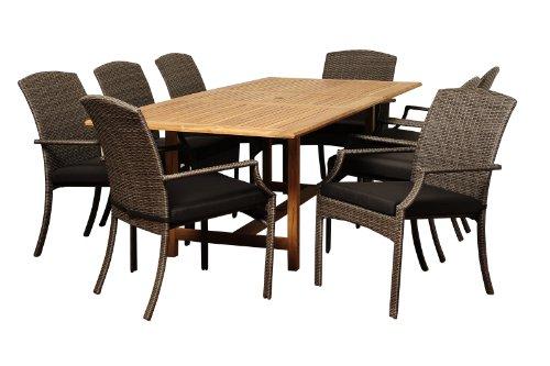 Amazonia Teak Boise 9-Piece Teak/Wicker Extendable Rectangular Dining Set with Grey Cushions
