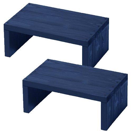 (2台セット)  ウッドステージ ワイド  (長さ45cm x 奥行き27cm x 高さ18cm, GBガーデンブルー) B079W32TWB 長さ45cm x 奥行き27cm x 高さ18cm|GBガーデンブルー GBガーデンブルー 長さ45cm x 奥行き27cm x 高さ18cm
