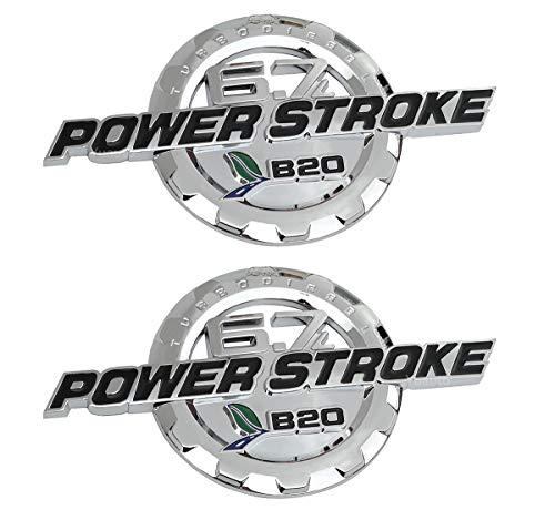 (Yuauto 2Pcs 6.7L Power Stroke Emblems, Turbo Diesel 3D Side Fender Door Emblems Nameplate Badges Replacement for F250 F350 (Chrome))