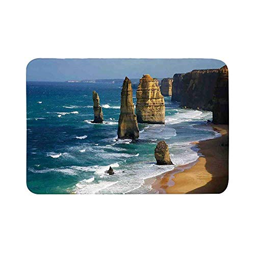 C COABALLA Coastal Decor Durable Door Mat,12 Apostles in Australia Rock Face Lookout by The Sea Sightseeing Panoramic Picture for Living Room,19.6