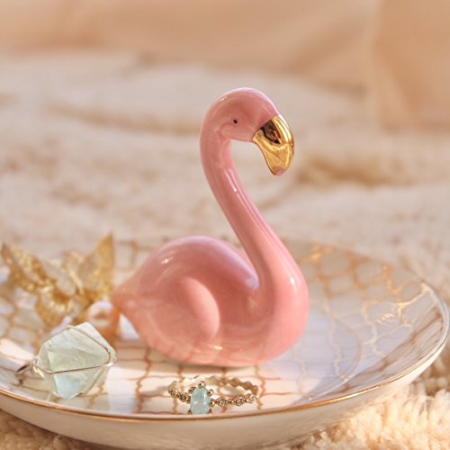 PUDDING CABIN Flamingos Ring Dish Holder Engagement Wedding Gift Ring Display Earrings Necklace Bracelet Jewelry Tray by PUDDING CABIN (Image #2)