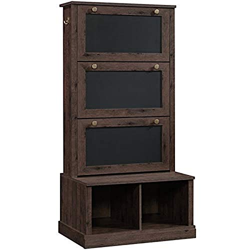 Simple Interior Entryway Hall Tree - Contemporary Storage Organizer - Wood Bench Coat Rack with Hidden Shoe Compartment - Coffee Oak Finish
