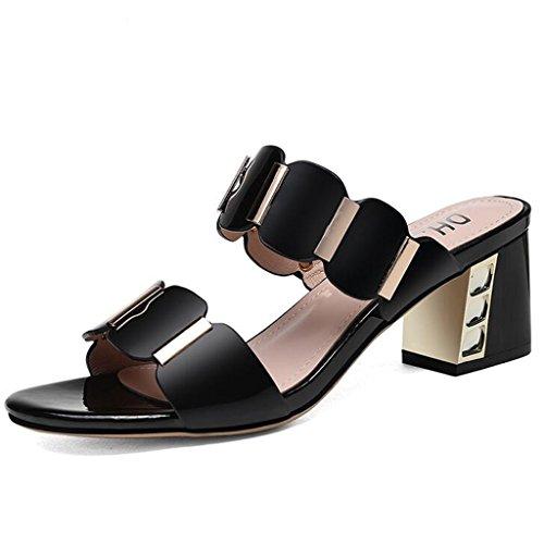 Talons Noir À Hauts En Femme Pantoufles Chaussures Épais Été Talons Bout Caoutchouc Pu Sandales Ouvert À OHwqdpZxq