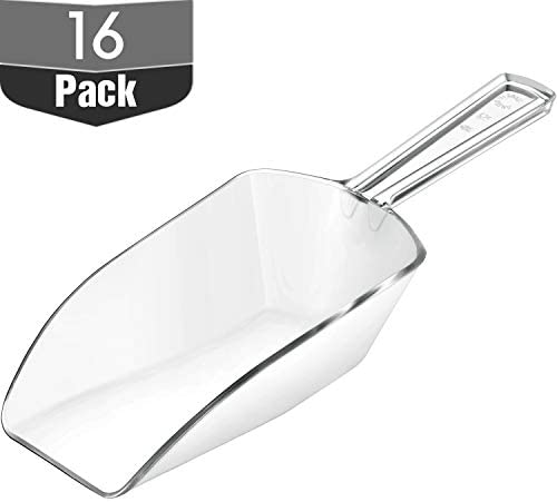 Hestya Multi-purpose Plastic Clear Kitchen Scoops, Ice Scoop for Weddings, Candy Dessert Buffet, Protein Powders, Ice Cream, Coffee, Tea (5.5 Inches, 16 Pieces) – The Super Cheap