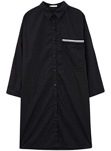 meters-bonwe-womens-casual-chest-pocket-loose-button-down-shirt-black-m