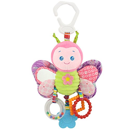 Lanlan Plush Animal Stroller Bed Hanging Toys Stuffed Handbell Rattle with Teether Gift for Infants A#