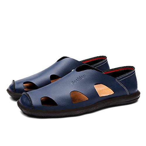 Xing Lin Sandales En Cuir Sandales En Cuir DÉté Chaussures DHommes Chaussures DHommes Paresseux Conduisant Les Jeunes Exposés Respirante Chaussures Hommes Chaussures Fond Mou ,Bleu Marée 45 170