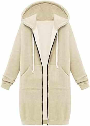 45e545c65888d Your Gallery Women s Casual Long Hoodies Sweatshirt Coat Pockets Zip up  Outerwear Hooded Jacket Plus Size
