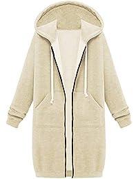 Women's Plus Size Tops Long Zip Up Kanga Pocket Hoodies Sweatshirt Coat Outerwear Hooded Jacket