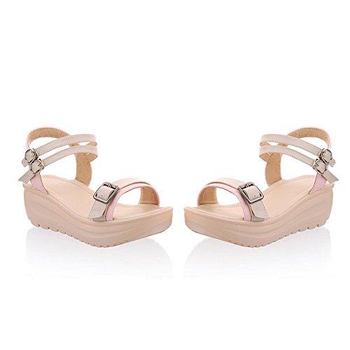 Sandalias De Pu De Material Suave Para Mujer Con Tacón Medio Amoonyfashion Con Punta Abierta Y Colores Surtidos Rosa