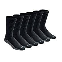 Dickies Men's 6 Pack Dri-Tech Comfort Crew Socks, Black/Grey, 10-13 Sock/6-12 Shoe