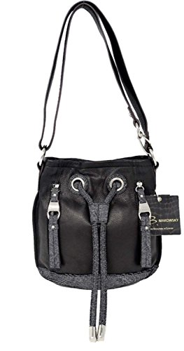 B. Makowsky Women Handbag Cross Body in Black Lizard (Makowsky Black Leather)