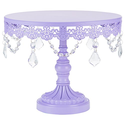 Amalfi Décor 10-Inch Cake Stand, Crystal Draped Round Metal Dessert Cupcake Display Pedestal Plate for Weddings Events Birthdays Parties Food Tower, Sophia Collection (Lavender Purple)]()