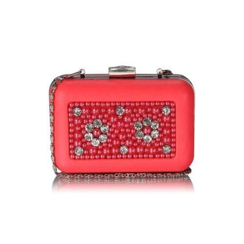 TrendStar - Cartera de mano para mujer Small Naranja - Coral Box Clutch