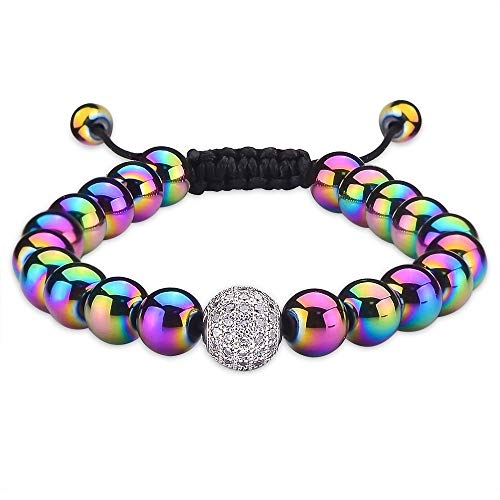 Jeka Dainty Disco Ball Charm Rainbow Hematite Bracelet Women Magnetic Therapy Colorful 8mm Semi Precious Gemstones Healing Energy Beads for Balancing Meditation Yoga Graduation Gifts