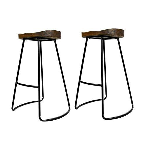 359 Matte Antique (Asdsa Bar Stools CJC 2 X Vintage Rustic Kitchen Pub Set Black Metal Frame Solid Wood Seat Industrial Style (Size : 34 46 65cm),A)
