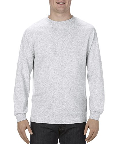 Alstyle Apparel AAA Men's Classic Cotton Long Sleeve T-shirt, Ash, Large -
