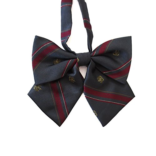 Women's Japanese Lolita Uniform Embroidery Handmade Bowties (one size, Carbon gray crown embroidery)