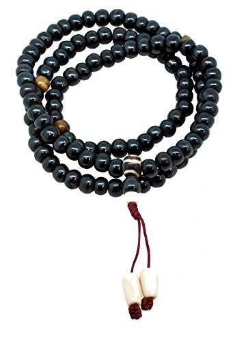 Tibetan Handmade Yak Bone (Tibetan 8mm Dark Wood Yak Bone 108 Prayer Beads Necklace, 108 Beads)