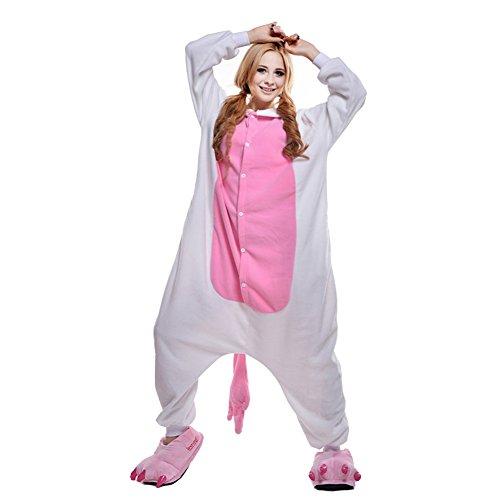 Free Fisher Damen/ Herren Schlafanzug Pyjama, Tier Kostüm, Einhorn Rosa, Gr. S (Körpergröße 146-159 CM)