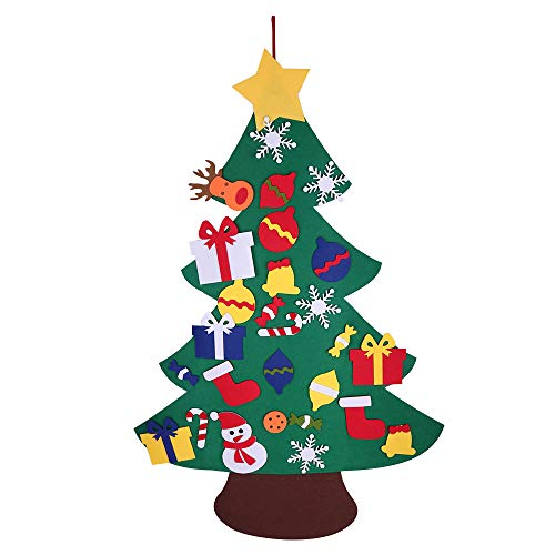 Shirylzee Felt Christmas Tree for Kids 3.2ft DIY Christmas Tree with Toddlers 28pcs Ornaments for Children Xmas Gifts Hanging Home Door Wall Christmas Decorations