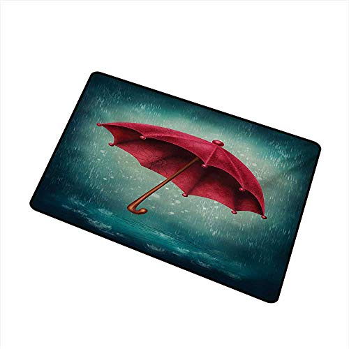 Becky W Carr Winter Commercial Grade Entrance mat Authentic Retro Wooden Handle Under Fall Rainfall Torrent of Rain Urban Image Art Print for entrances, garages, patios W23.6 x L35.4 Inch,Teal]()