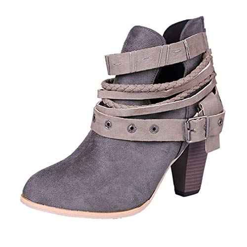 - Women's Close Toe Buckle Strap Stacked Heel Ankle Boots Suede Platform Zip Bootie Martin Short Boots Grey