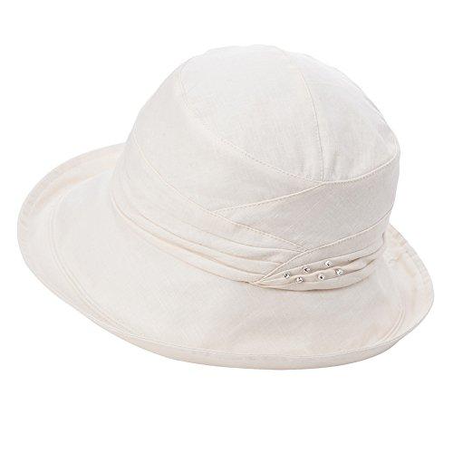 SIGGI Ladies UPF50+ Summer Sunhat Cotton Bucket Breathable Foldable Wide Brim Hats w/Chin Cord Beige by SIGGI (Image #8)