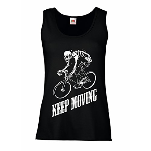Lepni Me Sleeveless T Shirts For Women Motivational Quotes   The Life Is Like Riding A Bicycle  To Keep Your Balance  You Must Keep Moving   Large Black Multi Color