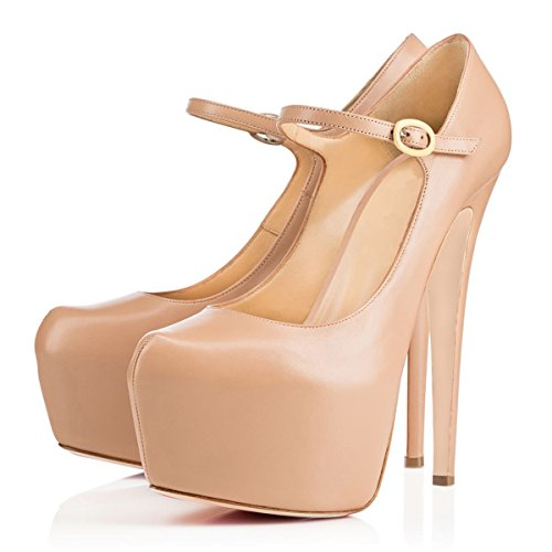 Pumps Strap Dress Jane Ankle Nude Size Women Stiletto Platform Mary Heels Joogo 7 Shoes High xS1wFYqUSn