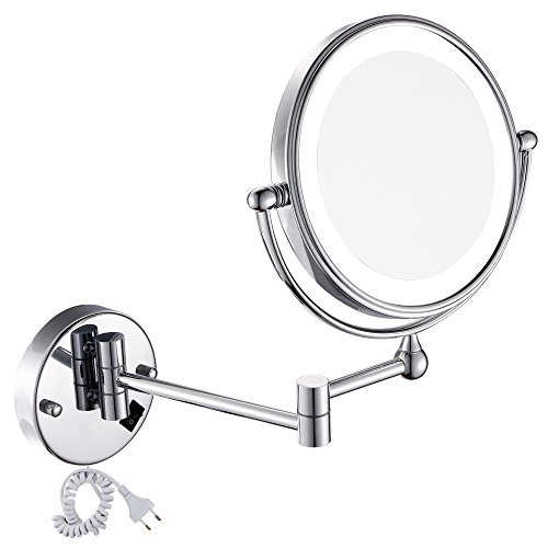 Gurun 8 5 Inch Led Lighted Wall Mount Makeup Mirror With 7X Magnification Chrome Finish  1805D 7X