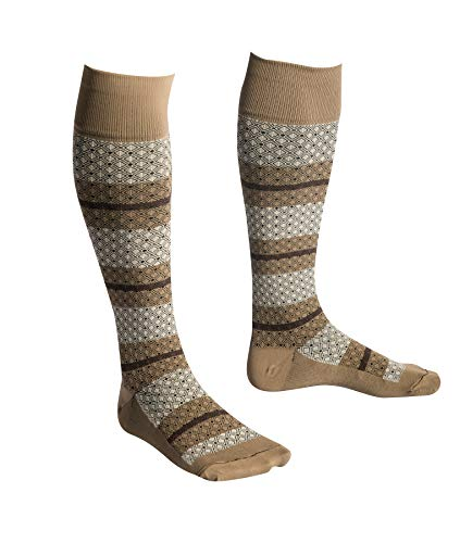 (EvoNation USA Made Men & Women Striped Design Graduated Compression Socks 15-20 mmHg Medical Quality Knee High Orthopedic Moderate Pressure Travel Support Stockings Hose - Best Fit (Large, Tan))