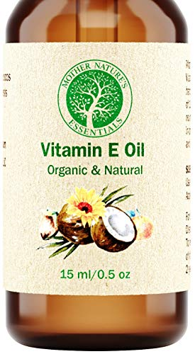 (Organic Vitamin E Oil - D-Alpha Tocopherol - Natural Ingredients - Includes Jojoba Oil, Coconut Oil and Vitamin C - Stimulates Collagen Growth - Non-GMO - Helps with Scars & Stretch Marks (15ml/.5oz))