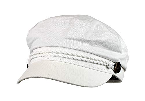 White 100% Cotton Cabbie Greek Fisherman Hat w/Braid - Newsboy Ivy Cap
