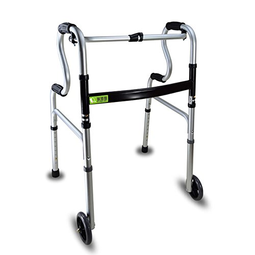 Active Wheel (Active Authority Lightweight Aluminum Adjustable Folding Walker with Wheels, up to 385lbs, Silver)