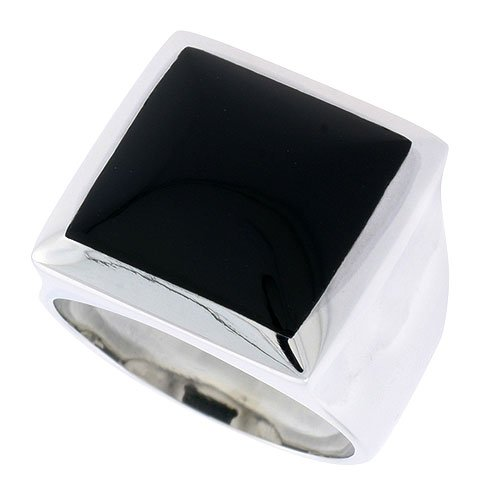 Sterling Silver Gents' Ring w/ a Square-shaped Jet Stone, 11/16