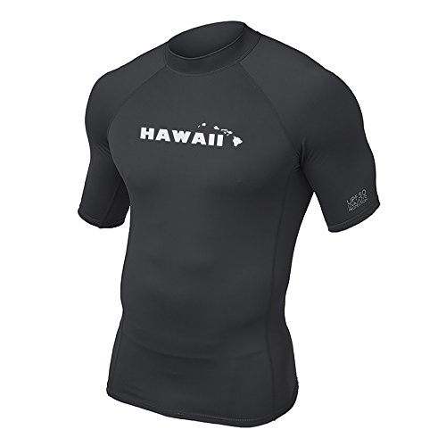 Maui Clothing Fuse Solid Hawaii Print Rash Guard (Black, - Maui Hi Wailea