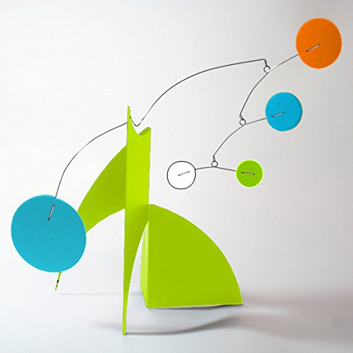The Moderne Art Stabile in Palm Springs Colors - a mobile you display on desktop, coffee table, or shelf - Inspired by Alexander Calder - Eames Midcentury Modern Style by Atomic Mobiles