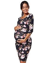 HAPPY MAMA. Womens Maternity Bodycon Jersey Dress Half Sleeves.939p