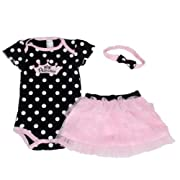 Baby butterfly headdress & Baby Girl's Dress Suits Romper Type H6323T12, Black, 12 Months