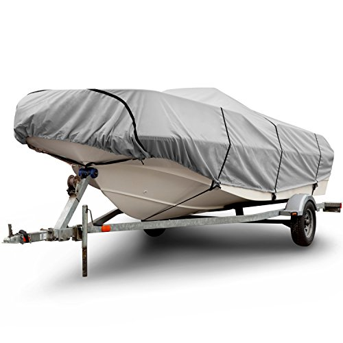 (Budge 300 Denier Boat Cover fits V-Hull Runabout Boats B-300-X8 (24' to 26' Long, Gray))