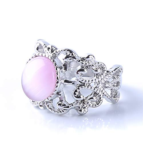 Meolin Women Girls Sparkling Opal Rhinestone Ring Beautifu Floral Rings for Bride Wedding Fine Jewelry Gifts,10# by Meolin (Image #3)