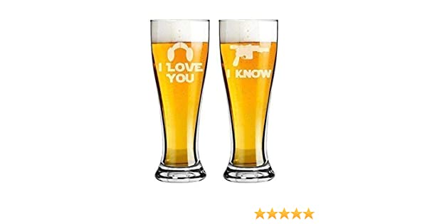 Choice of Names /& Date- Personalized Custom Engraved Bride and Groom Couple Gift Star Wars Inspired Set of 2 Pilsner Beer Glasses 16 oz Pint I Love You I Know