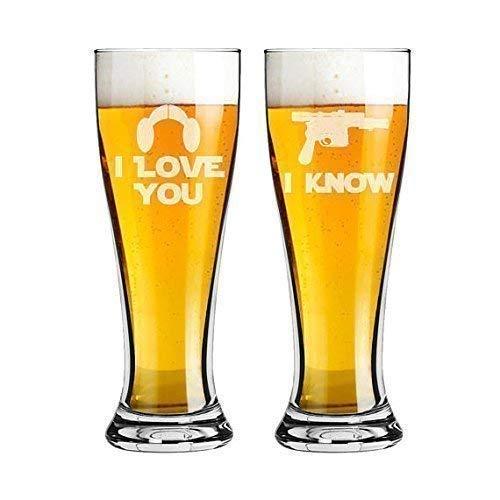 (Star Wars Inspired I Love You I Know Set of 2 Pilsner Pint Beer Glasses 16 ounce Custom Engraved including Choices of Name and Date)